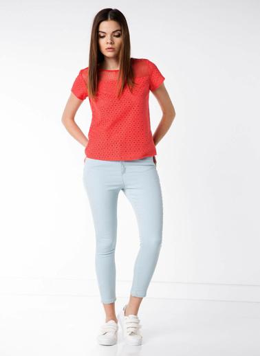 DeFacto Dantel Detaylı Bluz Kırmızı